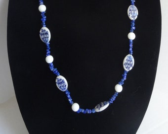 Blue and White Porcelain Beads, Blue Lapis Chip Beads and White Glass Beads Necklace / Pantone Color 2020 / Classic Blue