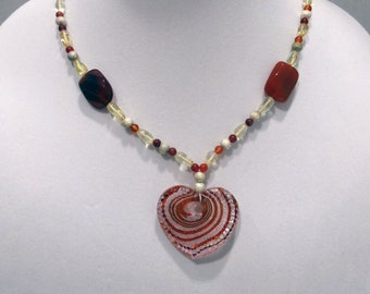 Red Agate Bead Necklace, Rust, Yellow and Silver Glass Beads Necklace, Glass Heart Pendant, One of a Kind