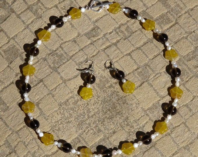 Brown Smoky Quartz Beads, White Freshwater Pearl Beads and Czech Glass Yellow Flower Beads Necklace and Earrings Set