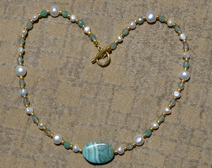White Freshwater Pearl, Teal Agate Focal Bead, Teal Czech Glass Beads, Gold Czech Glass Beads Necklace