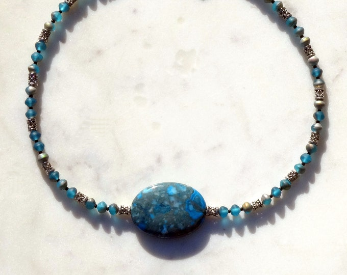 Blue Crazy Lace Agate Focal Bead, Czech Glass Blue and Gray Beads and Silver Plated Beads Necklace
