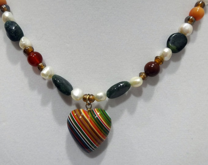 Green Emerald Beads, Orange Jasper Beads, White Freshwater Pearl Necklace with Multi-color Striped Ceramic Heart Pendant, Valentine