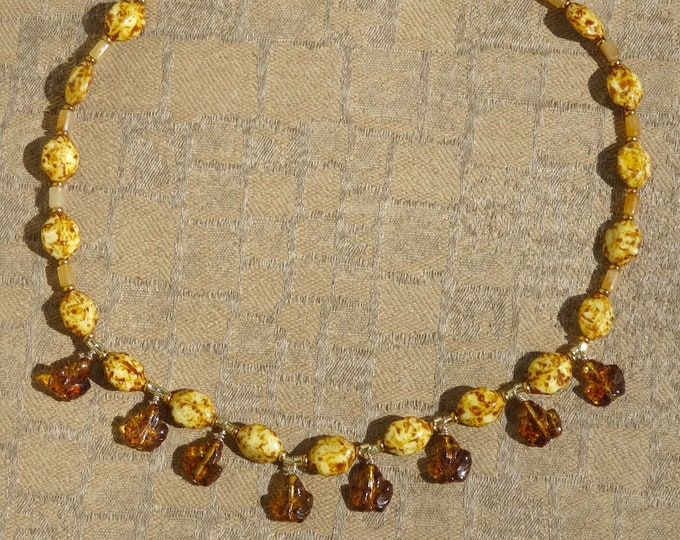 Amber Glass Leaf Beads, Brown and Yellow Glass Beads, Vintage Resin Beads Necklace