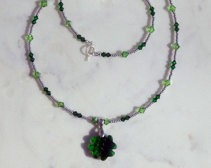 Green Swarovski Beads and Czech Glass Silver Seed Beads Necklace with Swarovski Green Four Leaf Clover Pendant, St Patrick's Day
