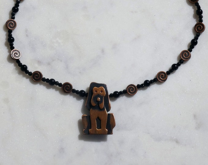 Vintage Copper Dog Brooch / Vintage Black Glass Beads and Copper Metal Beads Necklace / Dog Pendant / Dog Lovers Necklace s