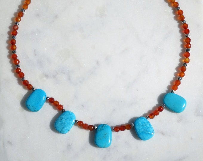 Genuine Turquoise Stone and Carnelian Bead Necklace, Southwestern Necklace