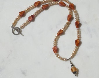 Cream Pearls and Czech Glass Brown Beads Necklace, Silver and Glass Bead Pendant, Fall Necklace, Autumn Necklace
