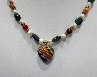 Emerald, Jasper and, White Pearl Necklace, Multi-color Striped Ceramic Heart Pendant, Heart Necklace, One of a Kind Necklace