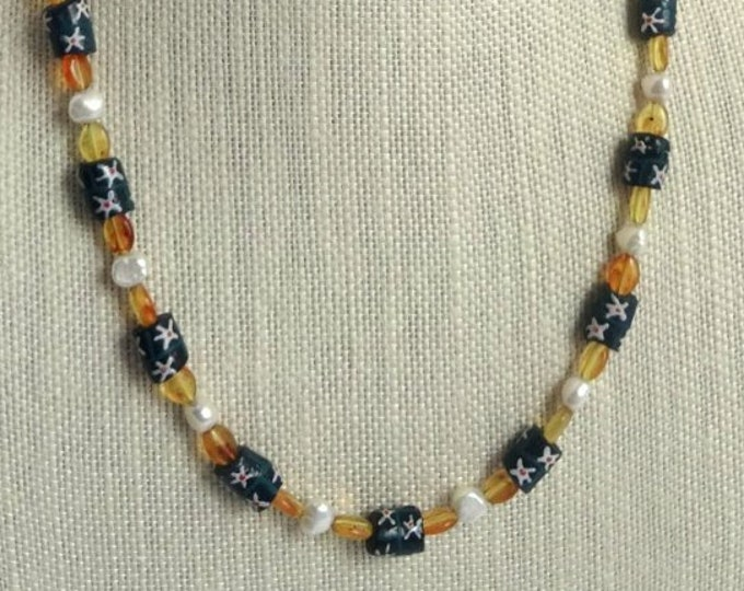 Blue Glass Flower Beads, White Freshwater Pearls and Vintage Orange Lucite Beaded Necklace