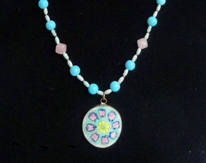 Pink and Blue Beaded Necklace made with Freshwater Pearls, Pink Rose Quartz Beads, Vintage Beads and Ceramic Flower Pendant