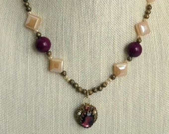 Cream Glass Beads, Gold Metal Beads, Freshwater Pearls, Vintage Purple Plastic Beads / Vintage Purple and Gold Clip Earring Pendant
