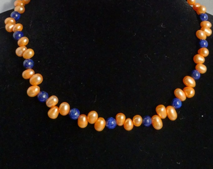 Orange Freshwater Pearl and Blue Lapis Beaded Necklace