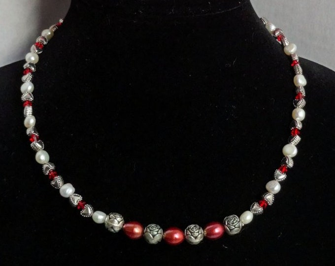 Red Freshwater Pearls, White Freshwater Pearls, Silver Metal Heart Bead, Silver Metal Flower Beads, Red Swarovski Beads Necklace, Valentine
