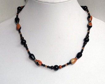 Black and Orange Agate Beads, Black Onyx Beads, Black Jasper Beads, Copper Swarovski Beads Necklace / Halloween Colors s