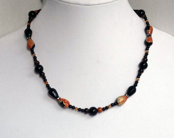 Black and Orange Agate Beads, Black Onyx Beads, Black Jasper Beads, Copper Swarovski Beads Necklace
