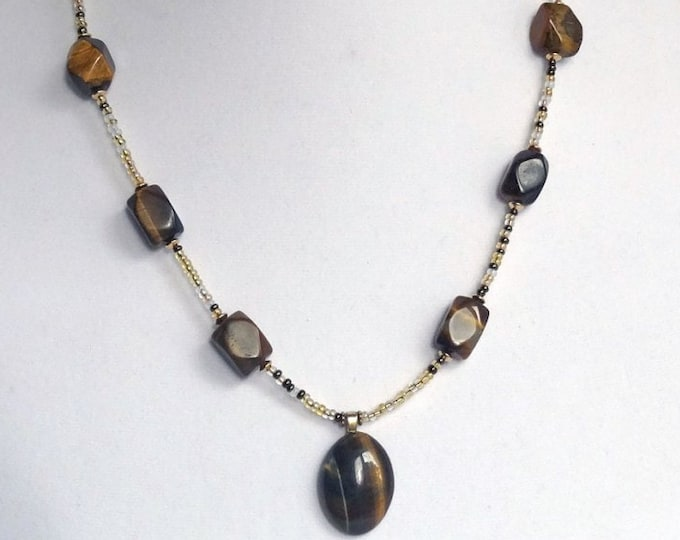 Tigers Eye Beads and Gold Beads Necklace with Tigers Eye Pendant
