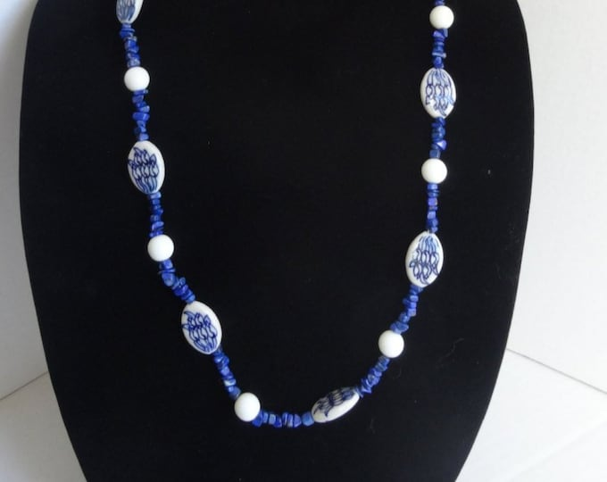 Blue and White Porcelain Beads, Blue Lapis Chip Beads and White Glass Beads Necklace
