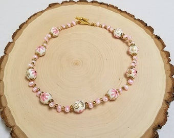 Pink Pearl Necklace, White Floral Wood Bead Necklace, Pink and White Bead Necklace, Pink Spring Necklace, Pink Summer Necklace