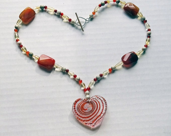 Red Agate Beads, Rust, Yellow and Silver Glass Beads Necklace with Glass Heart Pendant, Valentine