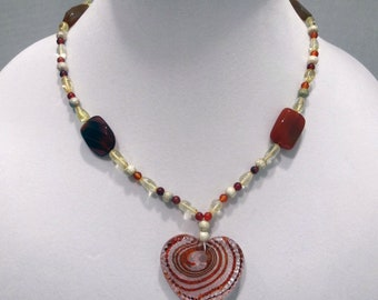 Red Agate Bead Necklace, Rust, Yellow and Silver Glass Beads Necklace, Glass Heart Pendant