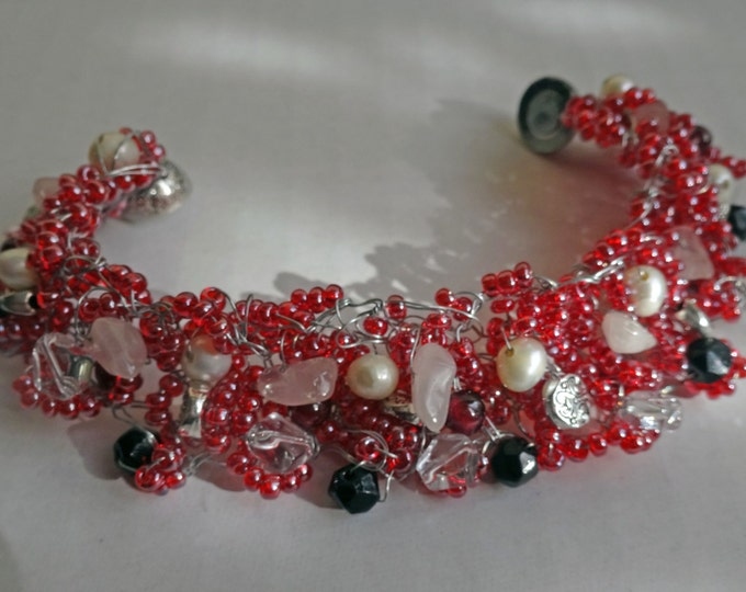 Red Beaded Hand Knitted Wire Bracelet with Freshwater Pearls, Glass Beads and Metal Beads