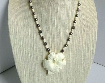 Freshwater Pearl and Cream Glass Beaded Necklace / Cream Hibiscus Flower Pendant / Easter necklace / Mothers Day necklace