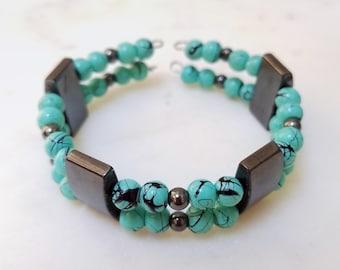 Turquoise Memory Wire Cuff Bracelet, Hematite Memory Wire Cuff Bracelet, Double Row Cuff Bracelet, Beaded Cuff Bracelet