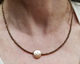 Copper Hematite Minimalist Necklace, Copper Hematite Minimalist Choker, Focal Pearl Necklace, Fall Necklace, Fall Choker, Autumn Choker