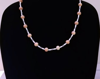 Pink Agate Necklace, Mother of Pearl Necklace, Pink Bead Necklace, White Bead Necklace, Spring Necklace, Summer Necklace, Long Pink Necklace