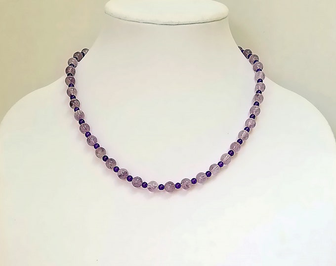Amethyst Necklace / Vintage Amethyst Necklace / Amethyst Necklace For Layering / Purple Beaded Necklace / February Birthstone Necklace