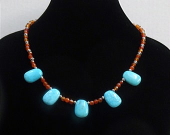 Turquoise and Carnelian Bead Necklace, Southwestern Necklace, Turquoise Necklace