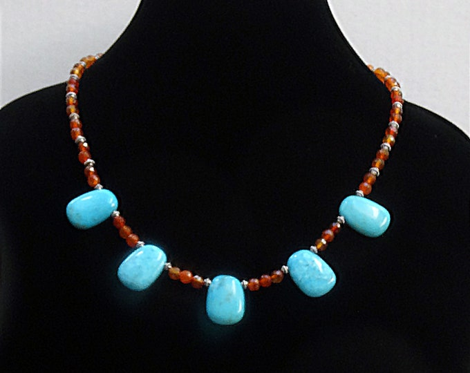 Genuine Turquoise Stone and Carnelian Bead Necklace / Southwestern Necklace