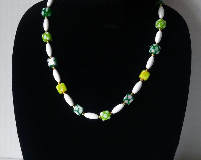 Green and Yellow Polka Dot Glass Beads, Vintage White Beads, Necklace