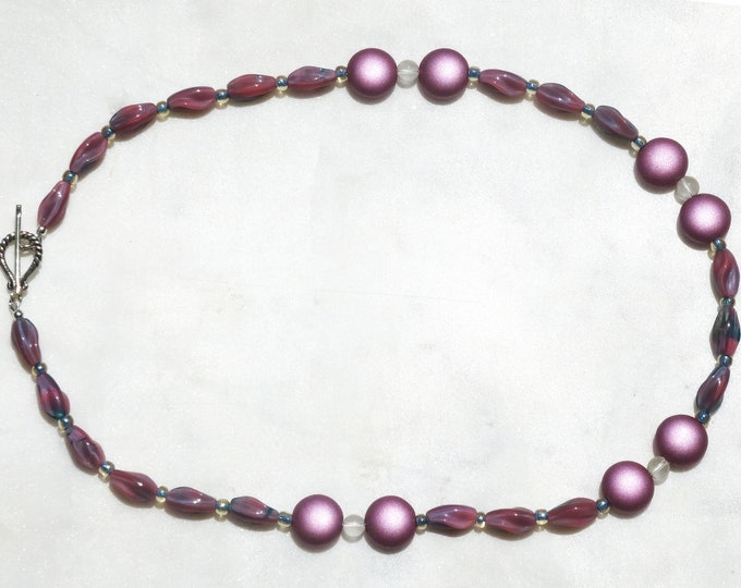Pink Czech Glass Oval and Lentil Bead Necklace, Gift for Mom, Gift for Pink Lovers