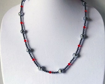 Hematite Beads, Red Swarovski Crystal Beads and Gray Baroque Glass Beads Necklace, Long Gray Bead Necklace