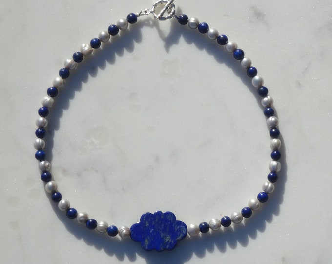 Lapis Bead and White Freshwater Pearl Necklace with Lapis Cloud Focal Bead