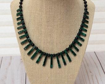 Malachite Collar Necklace, Malachite Fan Collar Necklace, Graduated Gemstone Fan Necklace, Fan Collar Choker