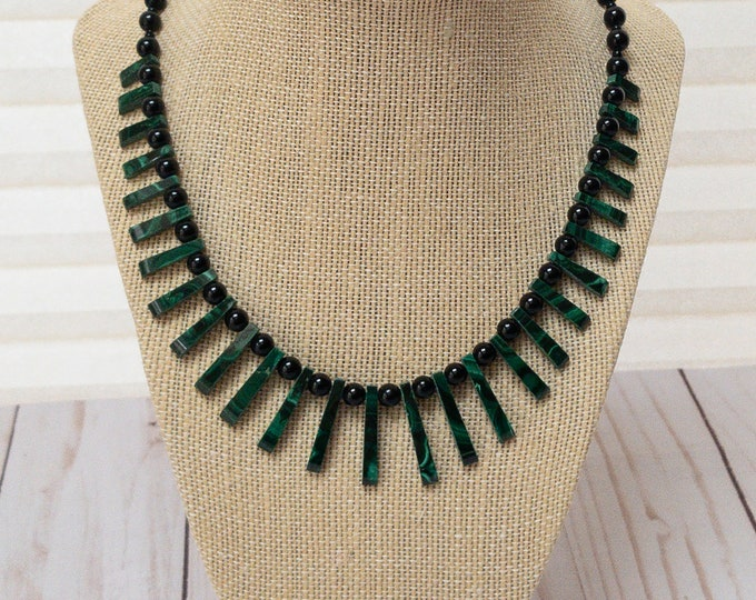 Featured listing image: Malachite Collar Necklace, Malachite Fan Collar Necklace, Graduated Gemstone Fan Necklace, Fan Collar Choker
