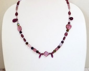 Purple Czech Glass Bead Necklace / Purple Glass Bead Necklace / Purple Mixed Bead Necklace /Long Purple Bead Necklace /