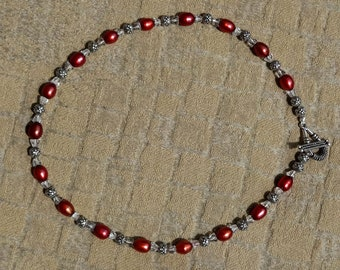 Red Freshwater Pearl Necklace, Vintage Crystal Bead Necklace, Sterling Silver Bead Necklace, Red Pearl & Crystal Bead Necklace,