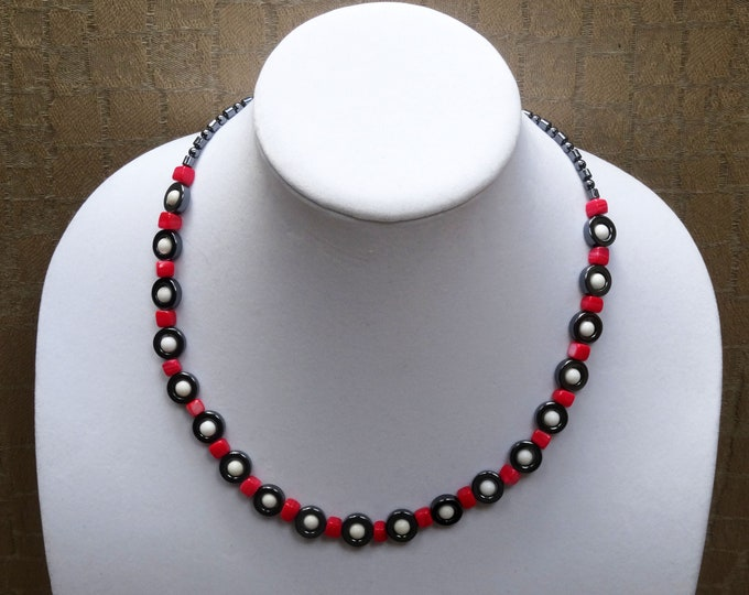 Hematite Beads, Red Shell Beads, Vintage White Plastic Beads Necklace
