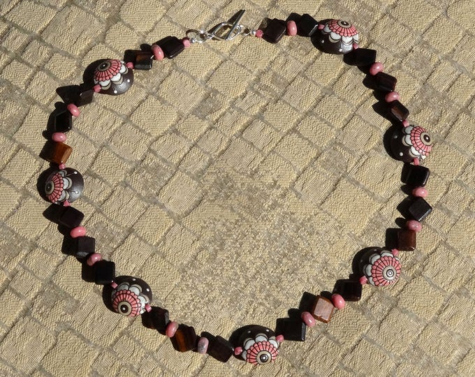 Brown, Pink and White Flower Stoneware Beads, Brown Wood Beads and Pink Rhodonite Beads Necklace