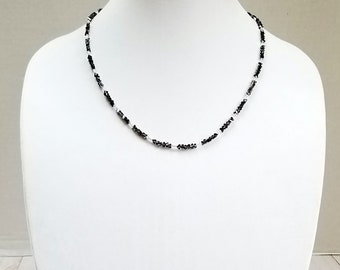 Black Crystal Minimalist Necklace, Silver Seed Bead Minimalist Necklace, Black Crystal Dainty Necklace, Silver Seed Bead Dainty Necklace