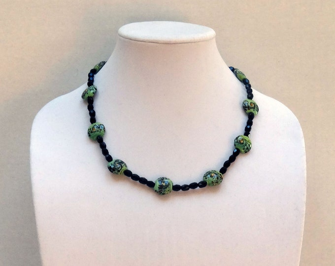 Black Onyx Beads and Green, Hand Painted, Abstract Ceramic Beads Necklace