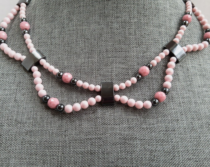 Featured listing image: Pink Swarovski Pearl Necklace, Glass Pearl Necklace, Two Strand Pearl Necklace, Pink Pearl Necklace, Pastel Pink Necklace, Spring Necklace