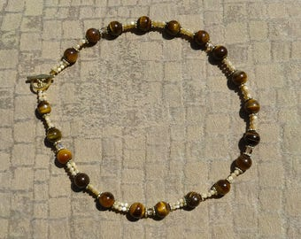 Tigers Eye Beads, Mother of Pearl Beads, Swarovski Crystal Beads and Gold Beads Necklace, One of a Kind Necklace