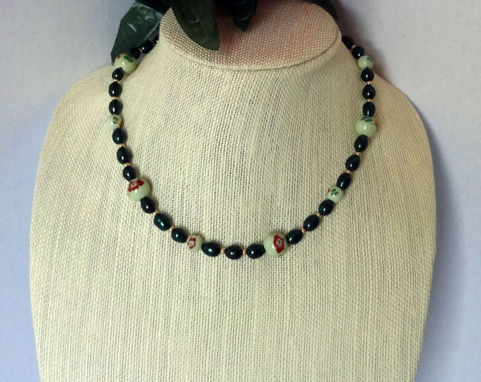 Jade Green Freshwater Pearls Necklace / Mint Green Ceramic Floral Beads Necklace / Gold Glass Seed Beads Necklace /