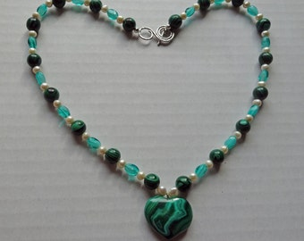 Malachite Beads, Freshwater Pearls and Czech Glass Beads Necklace with Malachite Heart Pendant, Valentine