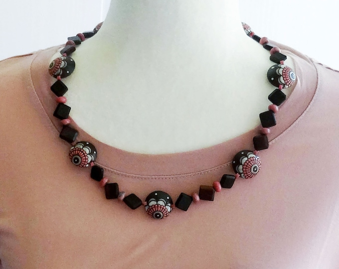 Brown, Pink and White Flower Stoneware Beads, Brown Wood Beads and Pink Rhodonite Beads Necklace, Ceramic Bead Necklace