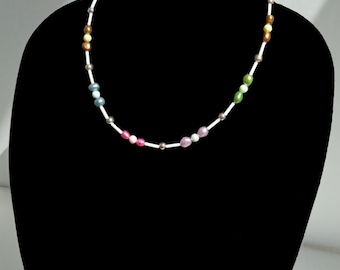 Multi-color Freshwater Pearl and Swarovski Crystal Pearl Beaded Necklace, Pastel Pearl Necklace, Spring Necklace, Summer Necklace